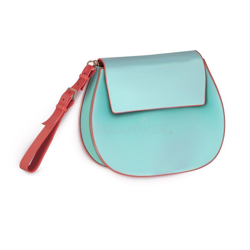Μίνι τσάντα γυναικών, συμπλέκτης, πορτοφόλι με την μπεζ κοντή λαβή Χρώμα μεντών ελεύθερη απεικόνιση δικαιώματος