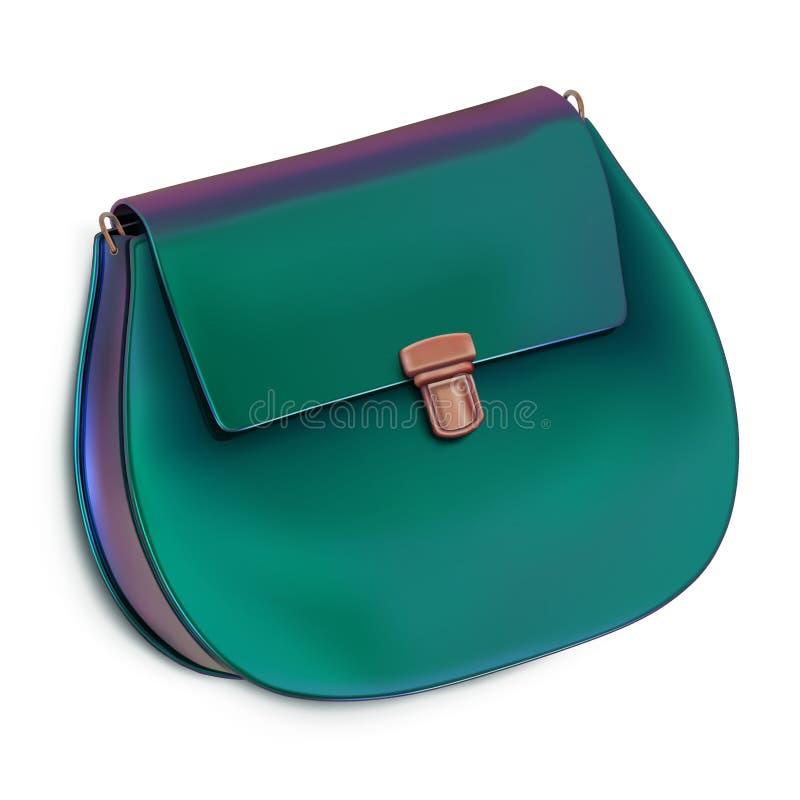 Μίνι τσάντα γυναικών, συμπλέκτης, πορτοφόλι Στιλπνό τυρκουάζ χρώμα ελεύθερη απεικόνιση δικαιώματος