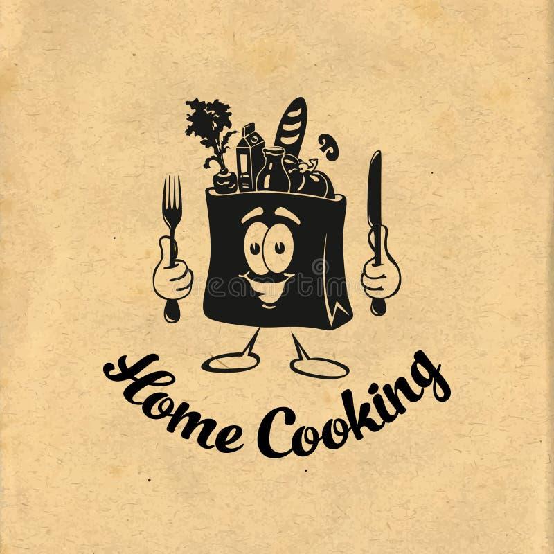 μαγείρεμα υγιές Bon Appetit Ιδέα μαγειρέματος Μάγειρας, αρχιμάγειρας, εικονίδιο εργαλείων κουζινών ή λογότυπο επίσης corel σύρετε διανυσματική απεικόνιση
