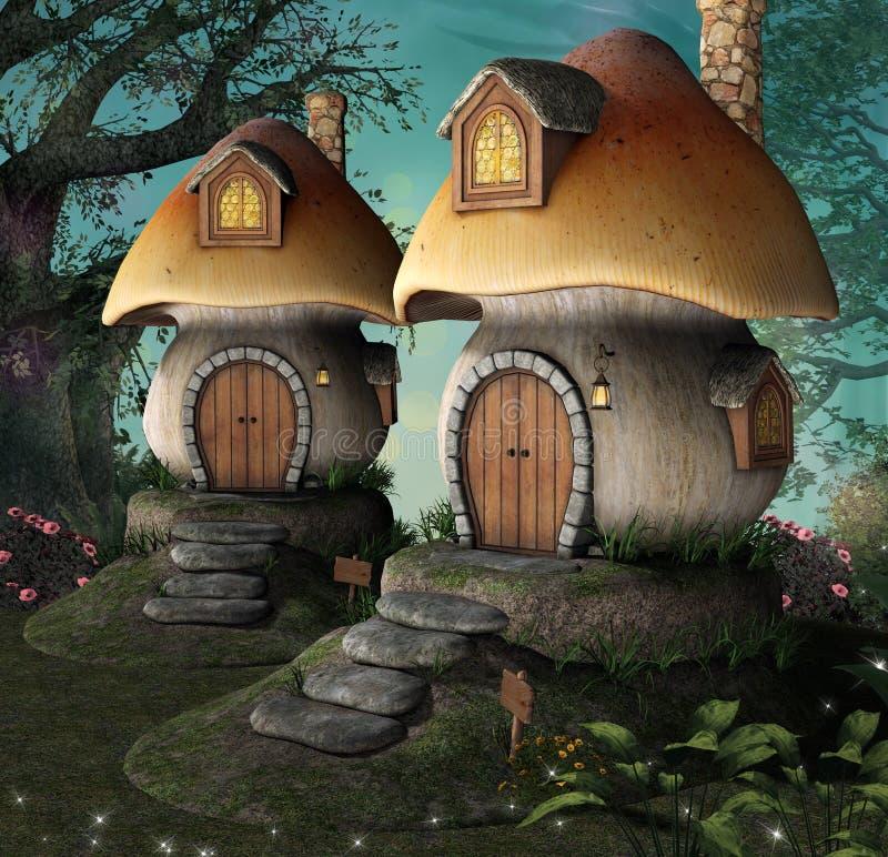 Μαγικά σπίτια νεραιδών στα ξύλα ελεύθερη απεικόνιση δικαιώματος