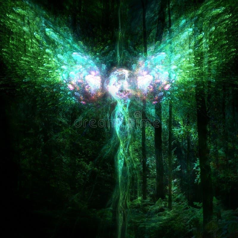Μαγική νεράιδα που είναι πυράκτωση που περιβάλλεται από το σκοτεινό μυστικό δάσος διανυσματική απεικόνιση