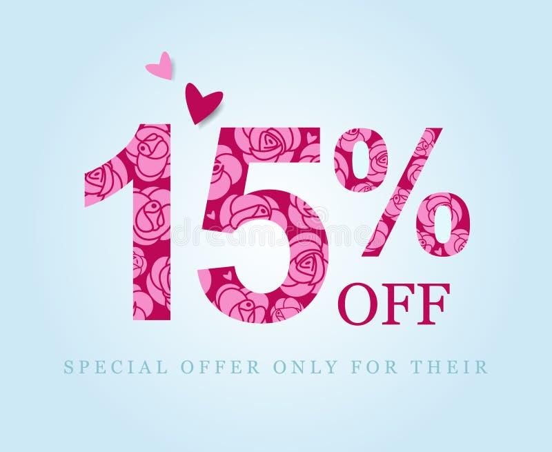 15 μακριά Έκπτωση δεκαπέντε τοις εκατό Ρόδινα τριαντάφυλλα, promo διανυσματική απεικόνιση