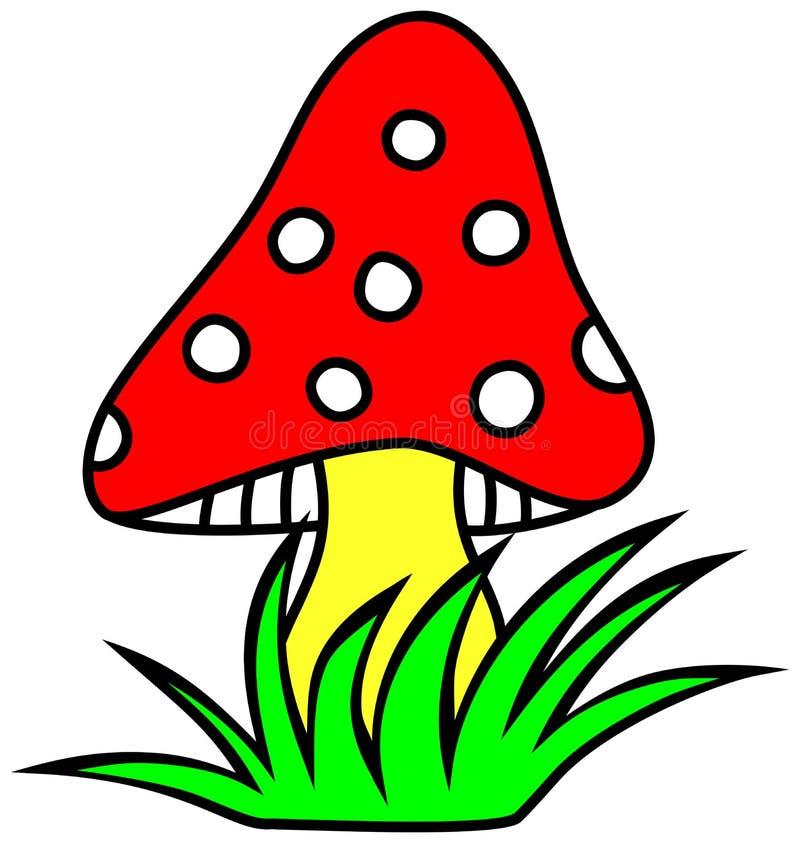 Μανιτάρι clipart Σφουγγάρι με ένα κόκκινο καπέλο διανυσματική απεικόνιση