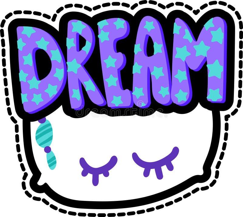 Μαξιλάρι με το όνειρο που γράφει το ραμμένο μπάλωμα πλαισίων ελεύθερη απεικόνιση δικαιώματος