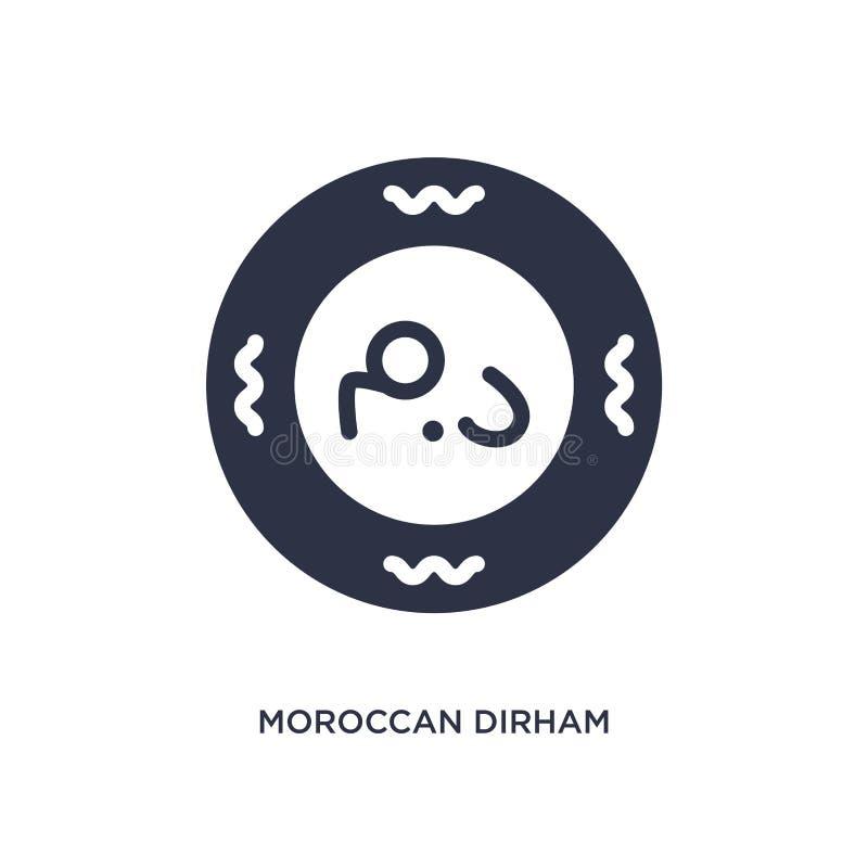 μαροκινό εικονίδιο Ντίραμ στο άσπρο υπόβαθρο Απλή απεικόνιση στοιχείων από την έννοια της Αφρικής απεικόνιση αποθεμάτων