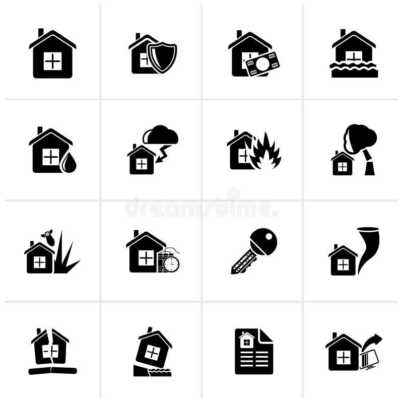 Μαύρα εικονίδια εγχώριων κινδύνου και ασφάλειας ελεύθερη απεικόνιση δικαιώματος