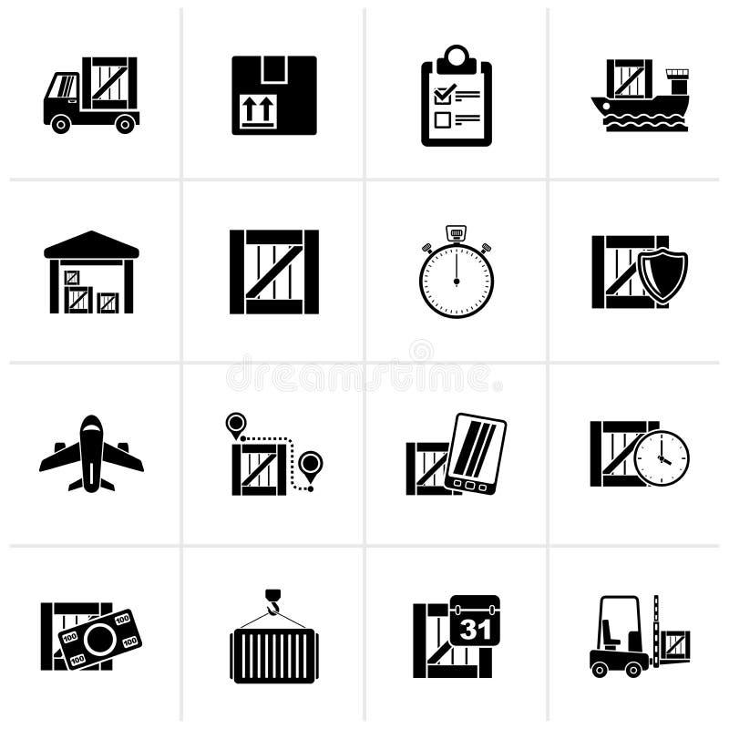 Μαύρα εικονίδια φορτίου, ναυτιλίας, διοικητικών μεριμνών και παράδοσης ελεύθερη απεικόνιση δικαιώματος