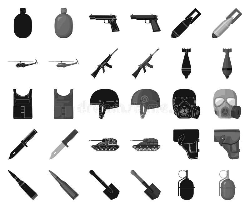 Μαύρα, μονοχρωματικά εικονίδια στρατού και εξοπλισμών στην καθορισμένη συλλογή για το σχέδιο Όπλα και διανυσματικός Ιστός αποθεμά διανυσματική απεικόνιση