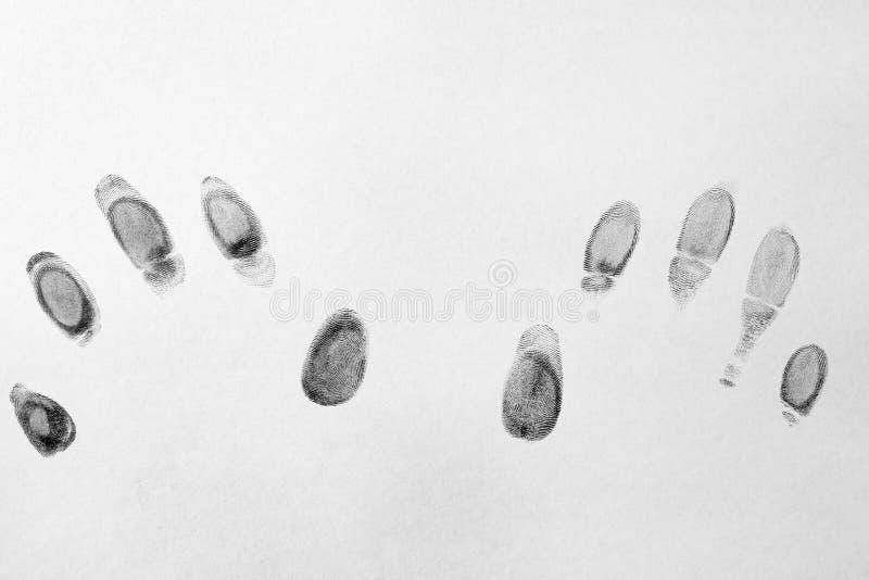 Μαύρα δακτυλικά αποτυπώματα στο άσπρο υπόβαθρο στοκ φωτογραφία με δικαίωμα ελεύθερης χρήσης