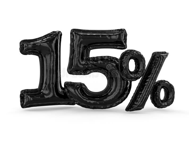 Μαύρα δεκαπέντε τοις εκατό φιαγμένα από διογκώσιμα μπαλόνια Σύνολο τοις εκατό τρισδιάστατος ελεύθερη απεικόνιση δικαιώματος