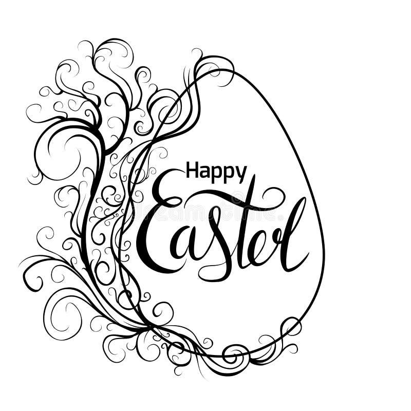 Μαύρη άσπρη ευχετήρια κάρτα με το αυγό, το εκλεκτής ποιότητας σχέδιο κυλίνδρων και τη γραφή που γράφει ευτυχές Πάσχα ριγωτό διάνυ απεικόνιση αποθεμάτων