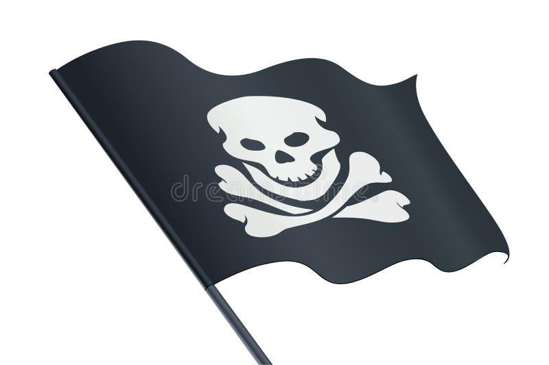 Μαύρη σημαία με το κρανίο και το κόκκαλο ευχάριστα Roger σύμβολο πειρατών επίσης corel σύρετε το διάνυσμα απεικόνισης διανυσματική απεικόνιση