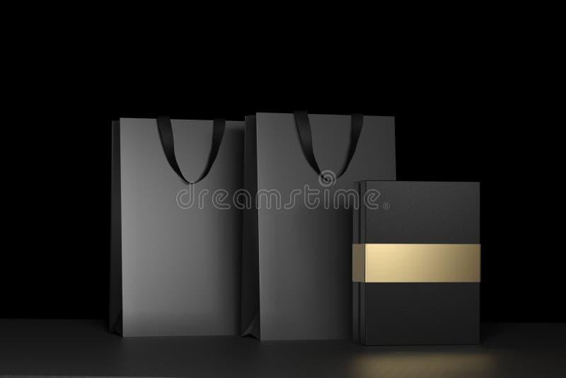 Μαύρη τσάντα αγορών εγγράφου με τις λαβές και τη χλεύη μαύρων κουτιών πολυτέλειας επάνω Μαύρη συσκευασία ασφαλίστρου για το πρότυ στοκ εικόνα