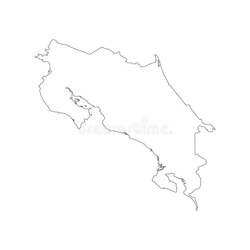 Μαύρη περίληψη του χάρτη της Κόστα Ρίκα ελεύθερη απεικόνιση δικαιώματος