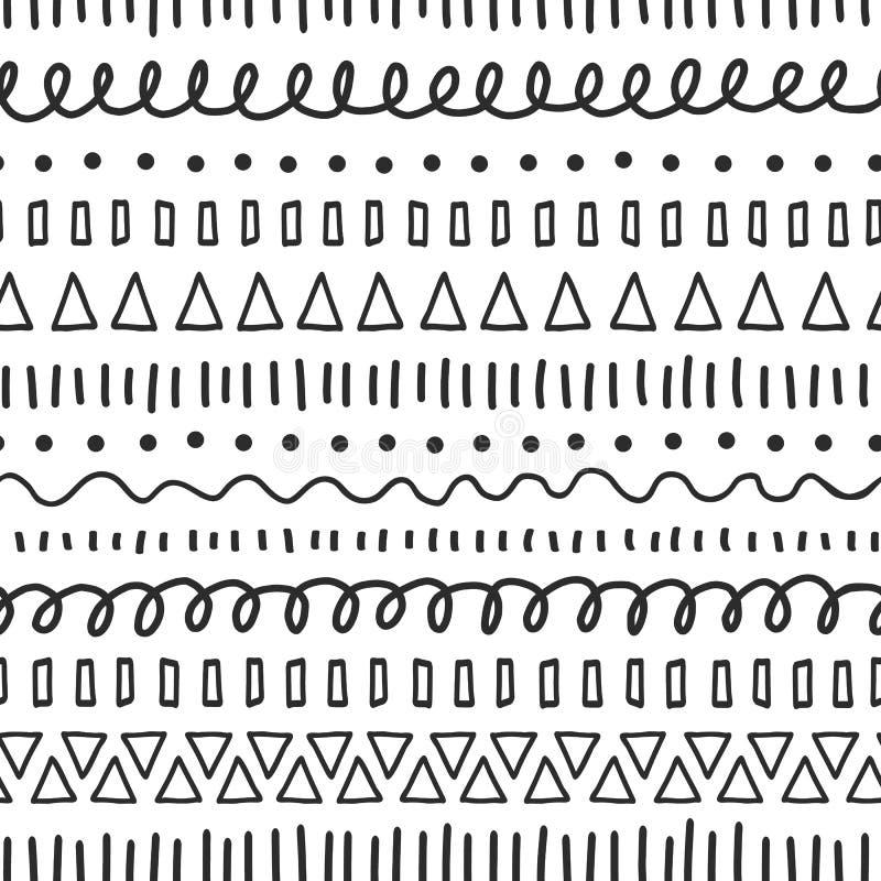 Μαύρο άνευ ραφής διανυσματικό σχέδιο doodles Εθνικά και φυλετικά μοτίβα Συρμένα χέρι doodle κτυπήματα, γραμμές, επανάληψη τριγώνω διανυσματική απεικόνιση