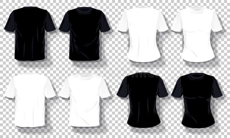 Μαύρο άσπρο σύνολο προτύπων μπλουζών που απομονώνεται, συρμένο χέρι διαφανές υπόβαθρο πουκάμισων γραμμάτων Τ διανυσματική απεικόνιση