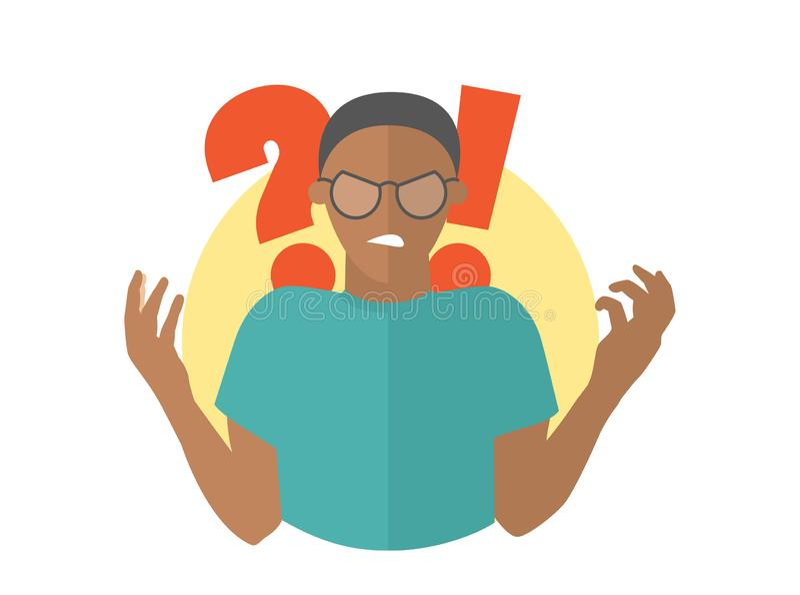 Μαύρο άτομο στα γυαλιά Τύπος στην οργή Επίπεδο εικονίδιο σχεδίου διανυσματική απεικόνιση