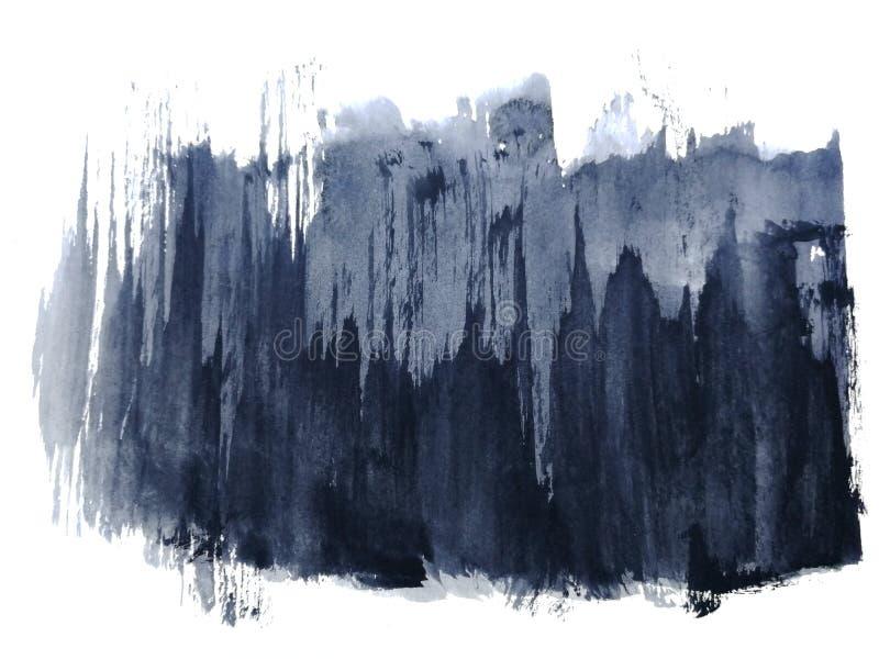 Μαύρο αφηρημένο χέρι Watercolor που σύρεται Απομονωμένη άσπρη ανασκόπηση Υγρός στο υγρό ύφος στοκ εικόνα