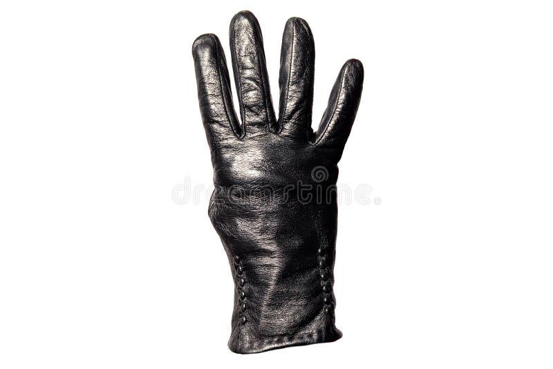 Μαύρο γάντι δέρματος κινηματογραφήσεων σε πρώτο πλάνο, δάχτυλα που παρουσιάζει αριθμό τέσσερα η ανασκόπηση απομόνωσε το λευκό Σύμ στοκ εικόνα