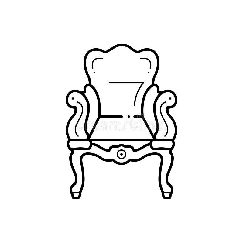 Μαύρο εικονίδιο γραμμών για αρχαίο, το βάθρο και την καρέκλα απεικόνιση αποθεμάτων