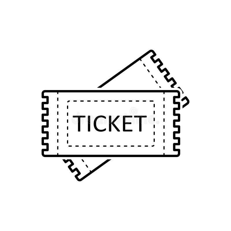 Μαύρο εικονίδιο γραμμών για τα εισιτήρια, το δελτίο και την απόδειξη απεικόνιση αποθεμάτων