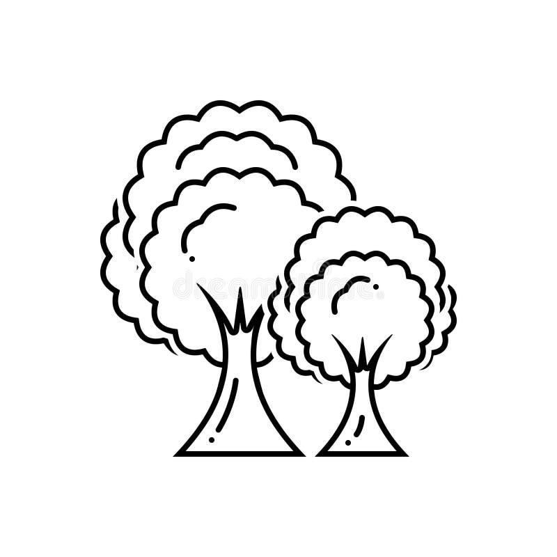 Μαύρο εικονίδιο γραμμών για τα δέντρα, τις εγκαταστάσεις και τη φύση ελεύθερη απεικόνιση δικαιώματος