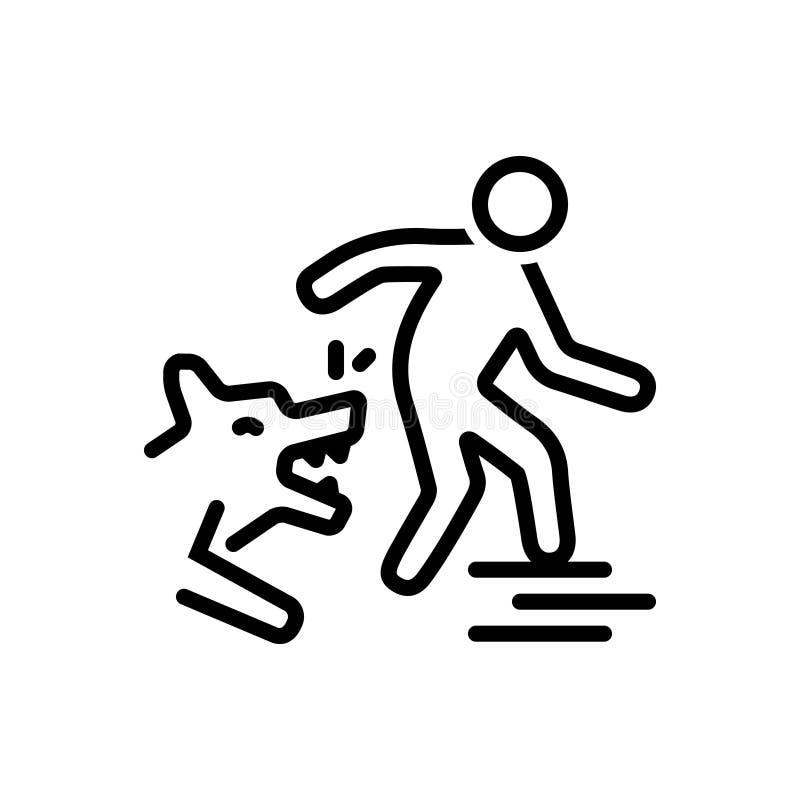 Μαύρο εικονίδιο γραμμών για τα δαγκώματα, την επίθεση και το ζώο σκυλιών απεικόνιση αποθεμάτων