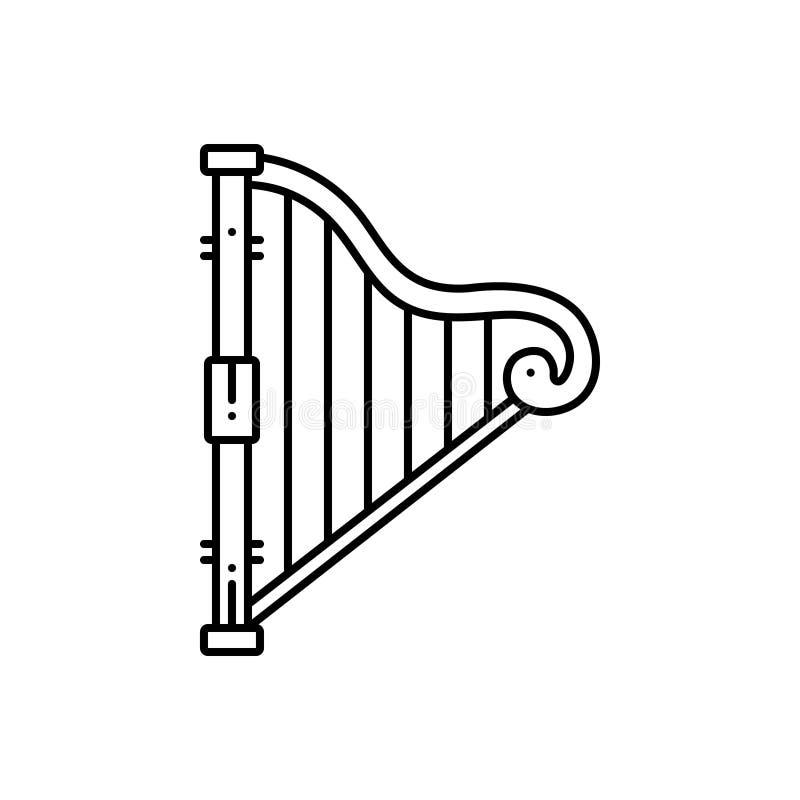 Μαύρο εικονίδιο γραμμών για την άρπα, το λαγούτο και το lyra ελεύθερη απεικόνιση δικαιώματος