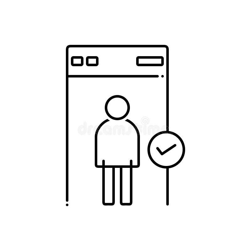 Μαύρο εικονίδιο γραμμών για την ασφάλεια, την προστασία και τον έλεγχο απεικόνιση αποθεμάτων