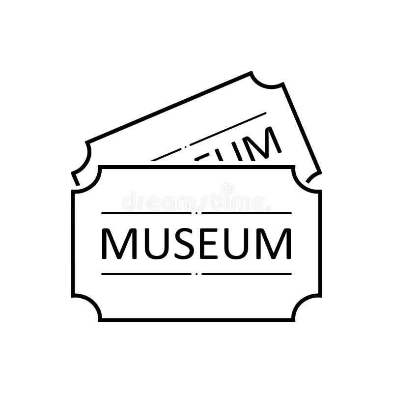 Μαύρο εικονίδιο γραμμών για την ετικέττα, την αντίκα και την τιμή μουσείων απεικόνιση αποθεμάτων