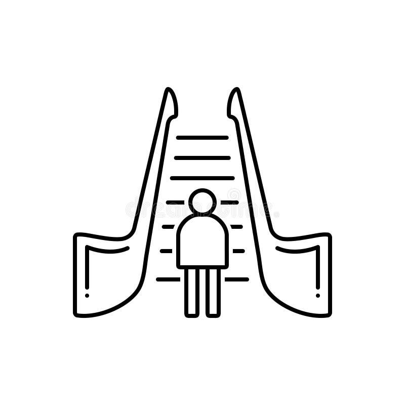 Μαύρο εικονίδιο γραμμών για την κυλιόμενη σκάλα, τη σκάλα και την κίνηση ελεύθερη απεικόνιση δικαιώματος