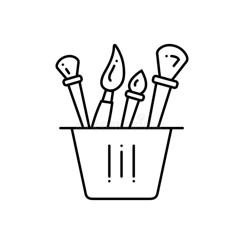 Μαύρο εικονίδιο γραμμών για τη βούρτσα, το εργαλείο και το χρώμα απεικόνιση αποθεμάτων