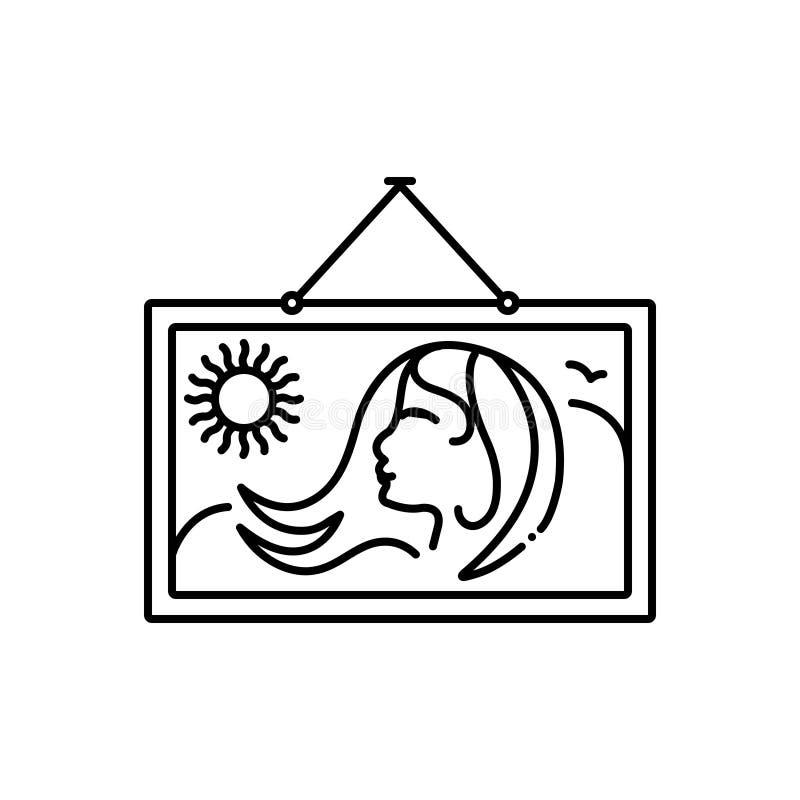 Μαύρο εικονίδιο γραμμών για τη ζωγραφική, τις γυναίκες και την κυρία διανυσματική απεικόνιση