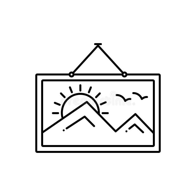 Μαύρο εικονίδιο γραμμών για τη ζωγραφική, το πορτρέτο και την απεικόνιση απεικόνιση αποθεμάτων