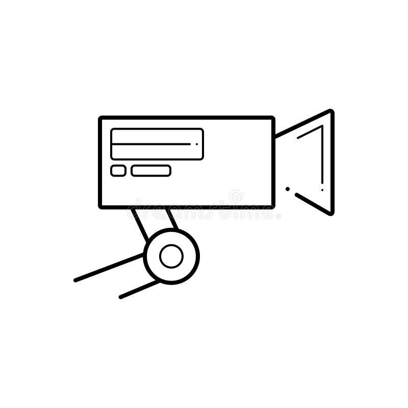 Μαύρο εικονίδιο γραμμών για τη κάμερα, το μουσείο και την ασφάλεια CCTV ελεύθερη απεικόνιση δικαιώματος