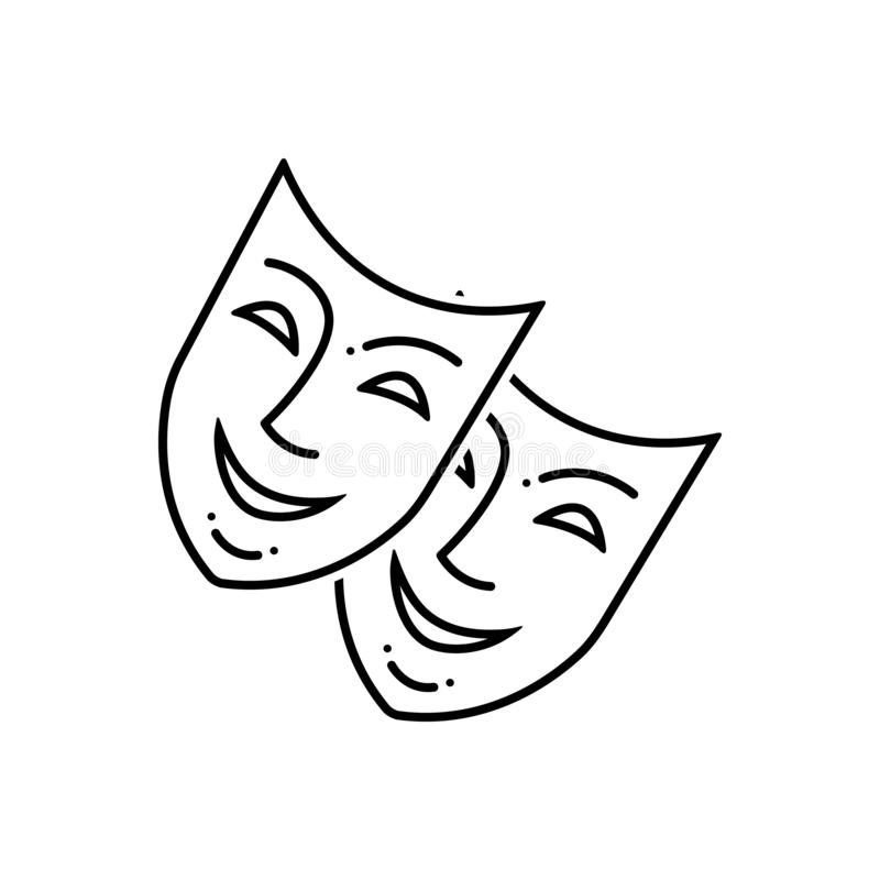 Μαύρο εικονίδιο γραμμών για τη μάσκα, το ντόμινο και το πρόσωπο διανυσματική απεικόνιση