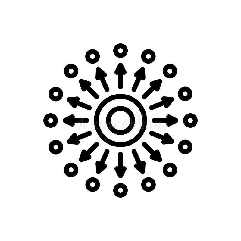 Μαύρο εικονίδιο γραμμών για τη διάχυση, τη διάδοση και τη διασπορά διανυσματική απεικόνιση
