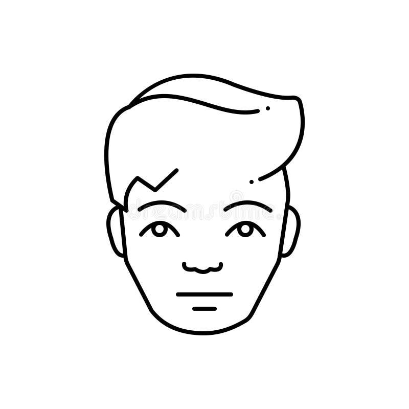 Μαύρο εικονίδιο γραμμών για τον άνθρωπο, το μουσείο και το πρόσωπο διανυσματική απεικόνιση