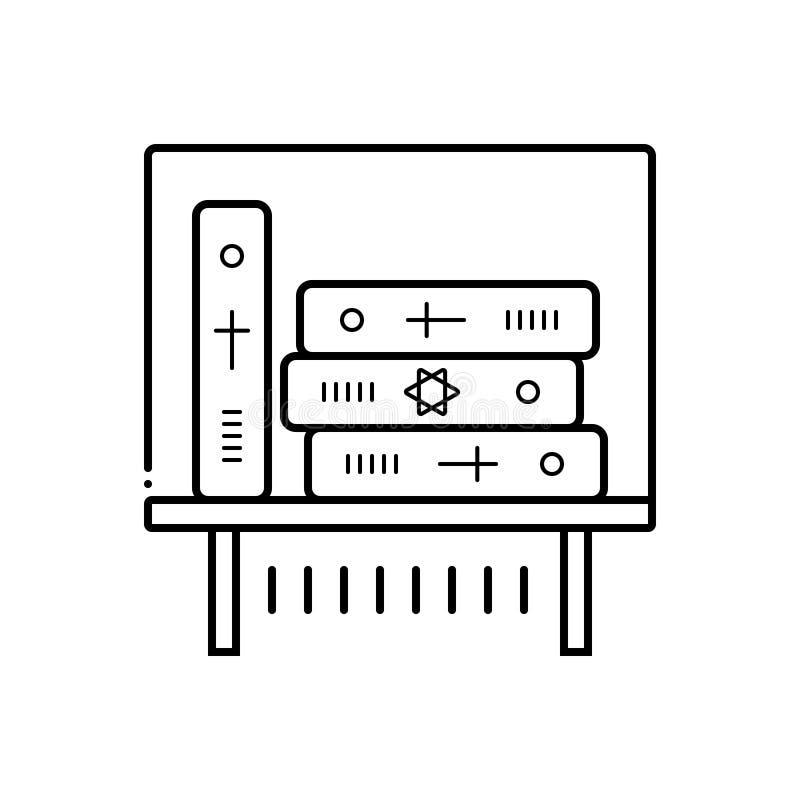 Μαύρο εικονίδιο γραμμών για το έκθεμα βιβλίων, βιβλίο και εξαθλιωμένος απεικόνιση αποθεμάτων