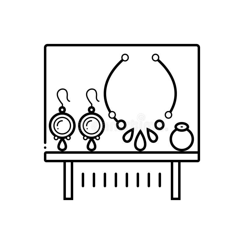 Μαύρο εικονίδιο γραμμών για το έκθεμα, και τη διακόσμηση κοσμημάτων διανυσματική απεικόνιση