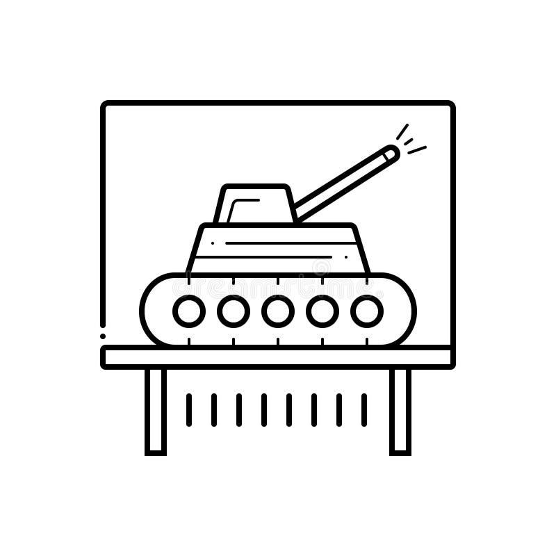 Μαύρο εικονίδιο γραμμών για το έκθεμα δεξαμενών, tankcar και educe απεικόνιση αποθεμάτων
