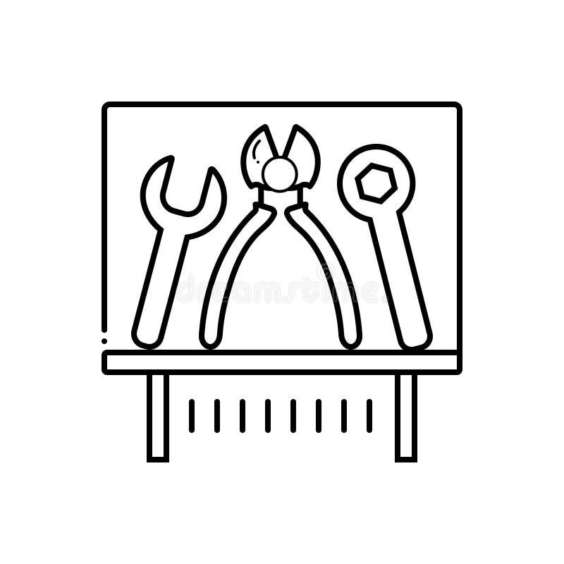 Μαύρο εικονίδιο γραμμών για το έκθεμα, τον εξοπλισμό και τα εργαλεία εργαλείων ελεύθερη απεικόνιση δικαιώματος