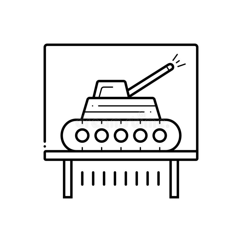 Μαύρο εικονίδιο γραμμών για το έκθεμα, educe και το σωλήνα δεξαμενών ελεύθερη απεικόνιση δικαιώματος