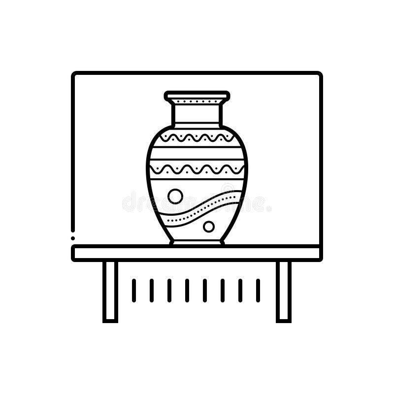 Μαύρο εικονίδιο γραμμών για το έκθεμα, kalash και το βάζο βάζων διανυσματική απεικόνιση