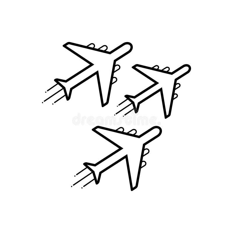 Μαύρο εικονίδιο γραμμών για το αεριωθούμενα έκθεμα, την κεραία και το αεροπλάνο απεικόνιση αποθεμάτων