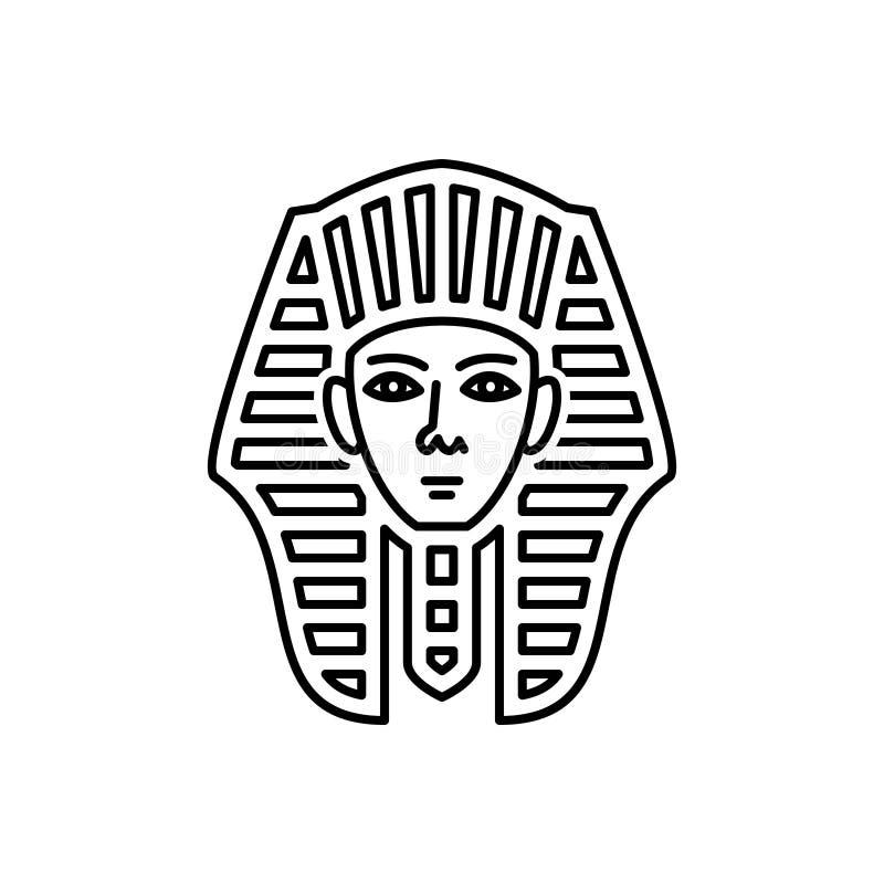 Μαύρο εικονίδιο γραμμών για το αιγυπτιακά πρόσωπο, το μουσείο και το giza διανυσματική απεικόνιση