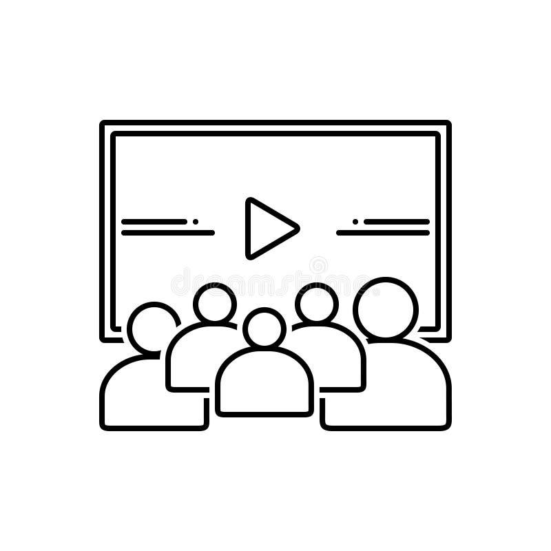 Μαύρο εικονίδιο γραμμών για το βίντεο, το ακροατήριο και τη διαλογή ελεύθερη απεικόνιση δικαιώματος