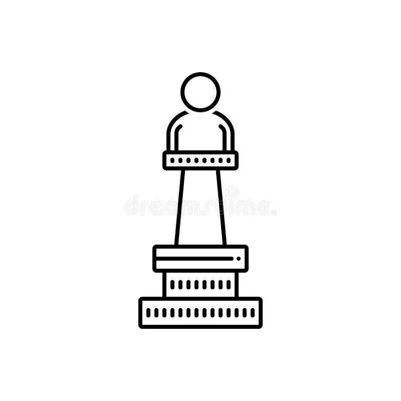 Μαύρο εικονίδιο γραμμών για το μνημείο, την επίδειξη και το μουσείο διανυσματική απεικόνιση