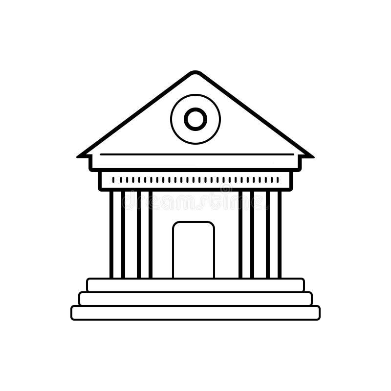 Μαύρο εικονίδιο γραμμών για το μουσείο, το κτήριο και την ακρόπολη διανυσματική απεικόνιση