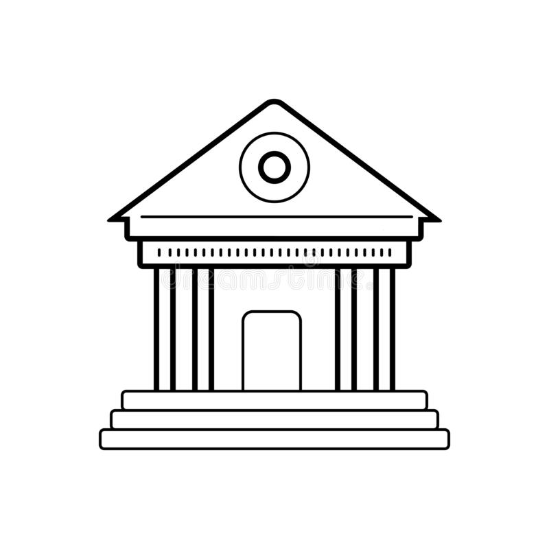 Μαύρο εικονίδιο γραμμών για το μουσείο, το κτήριο και την ακρόπολη απεικόνιση αποθεμάτων